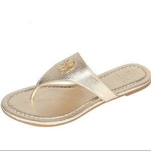 Tory Burch Gold Laura Flat Thong Metallic Sandal
